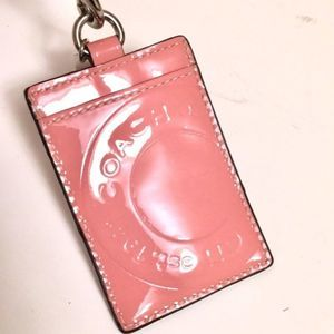 Coach name tag card holder pink silver strap NWT
